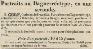 Cerf Daguerreotypie - Journal de Bruges 4 september 1842 pagina 4.